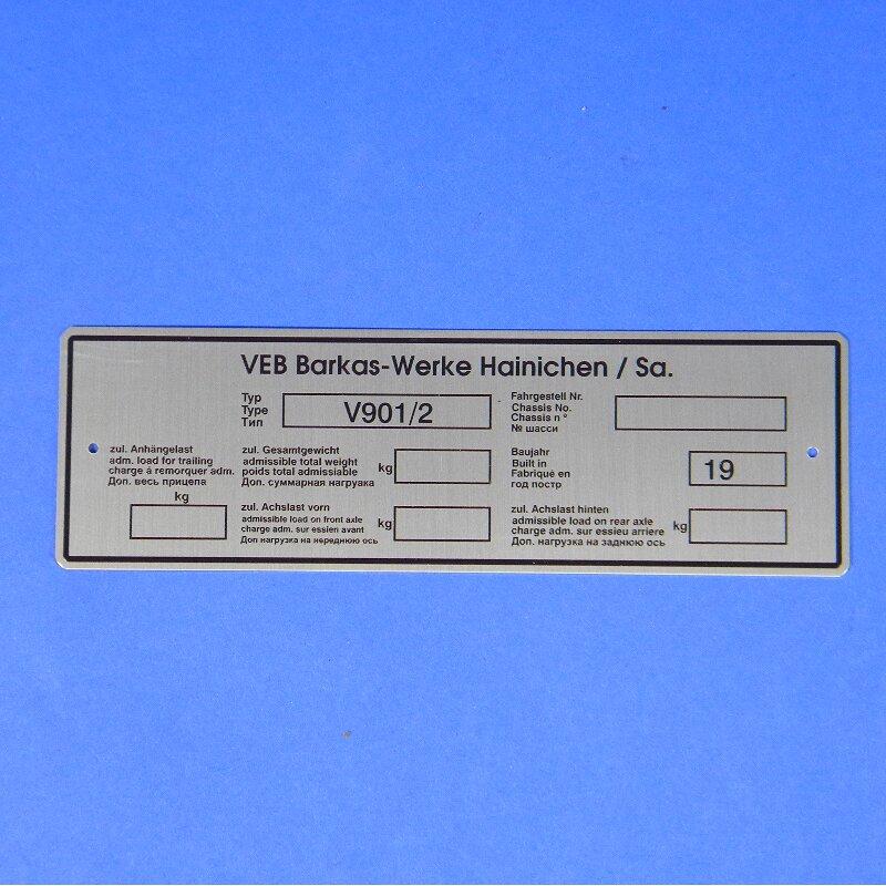 Typenschild, Framo V901/2  VEB Barkas-Werke Hainichen