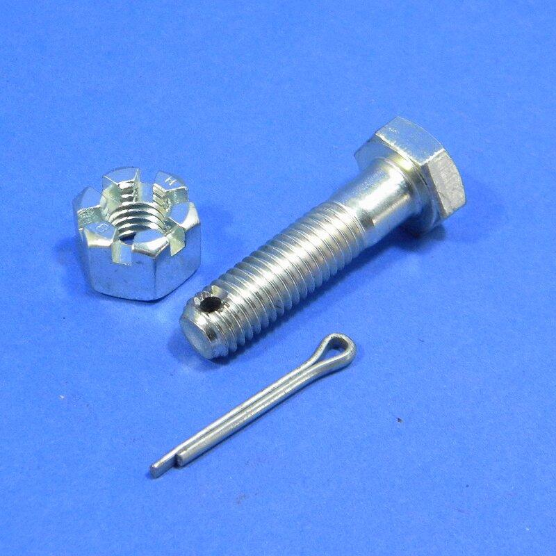 Sechskantschraube für Hardyscheibe M10x40 mit Splintloch und Kronenmutter